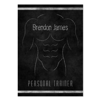 Black Muscle Man Personal Trainer Business Cards