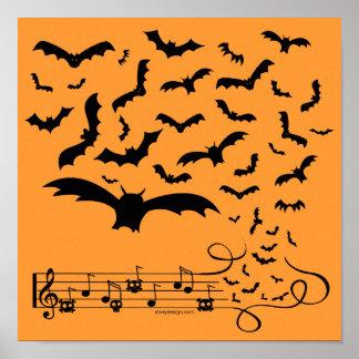 Black Music Bats Design Poster