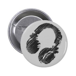 black music deejay headphone 2 inch round button