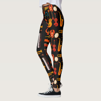 Black Musical instruments texture party legging