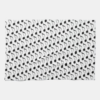 black musical-note kitchen towel