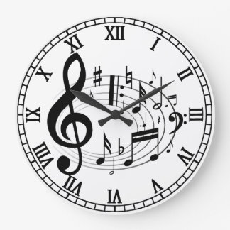 Black Musical Notes in Oval Shape designer clock