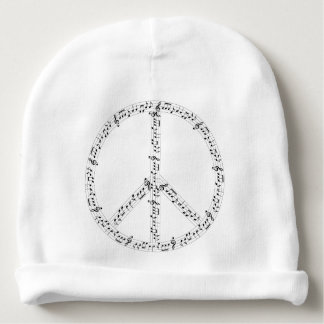 Black Musical Notes Round Peace Sign Baby Beanie