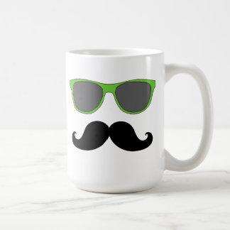 Black Mustache and Green Sunglasses Humor Classic White Coffee Mug