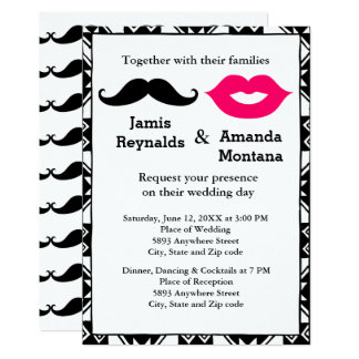 Black Mustache and Pink Lips Couple Wedding Invite
