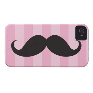Black mustache and pink stripes iPhone 4 case