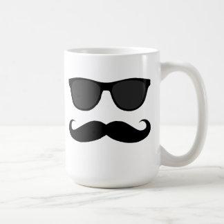 Black Mustache and Sunglasses Humor Classic White Coffee Mug