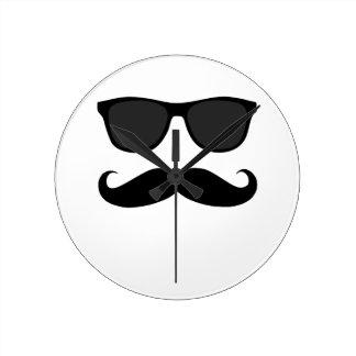 Black Mustache and Sunglasses Wall Clock