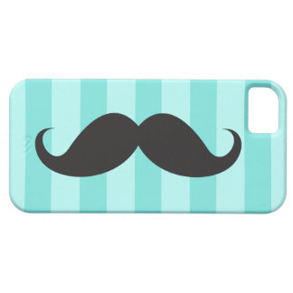 Black mustache and teal aqua blue stripes case for the iPhone 5