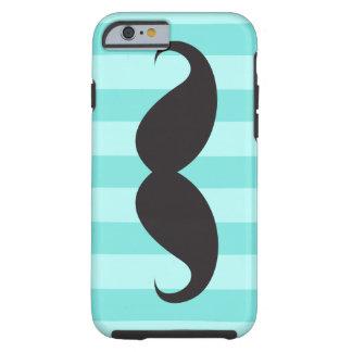 Black mustache aqua stripes iPhone 6 case