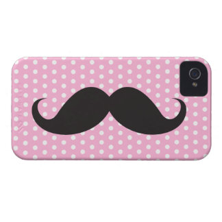 Black mustache chic pink polka dot trendy iPhone 4 cover