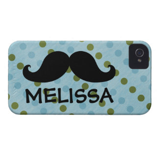 Black Mustache Green Blue Polka Dots Name iPhone 4 Case-Mate Cases