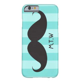 Black mustache monogram aqua iPhone 6 case