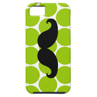 Black Mustache on Green Polka Dots iPhone 5 Case