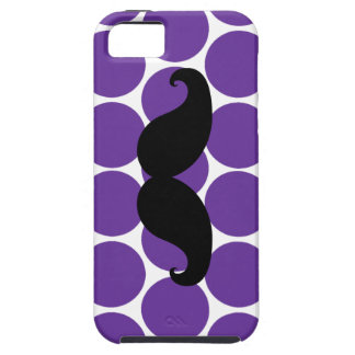 Black Mustache on Purple Polka Dots iPhone 5 Case