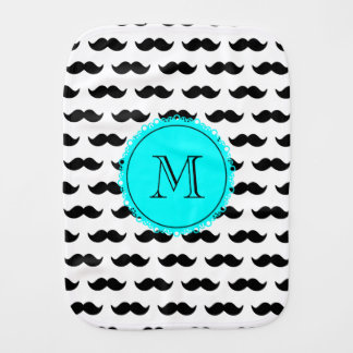 Black Mustache Pattern, Aqua Blue Monogram Burp Cloth