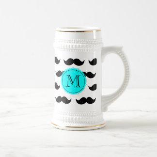 Black Mustache Pattern, Aqua Blue Monogram Coffee Mugs