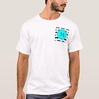 Black Mustache Pattern, Aqua Blue Monogram T-Shirt