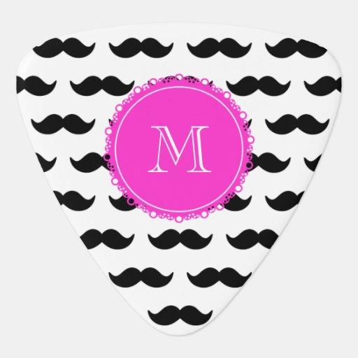 Black Mustache Pattern, Hot Pink Monogram Guitar Pick