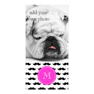 Black Mustache Pattern, Hot Pink Monogram Picture Card