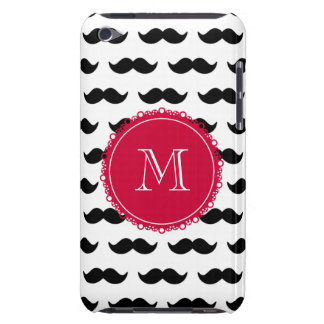 Black Mustache Pattern, Red Monogram iPod Touch Covers