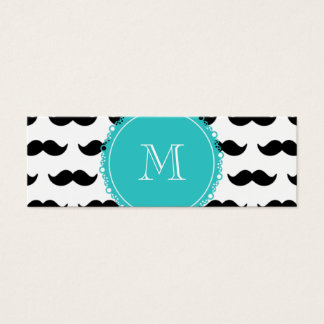 Black Mustache Pattern, Teal Monogram Mini Business Card