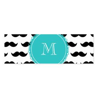 Black Mustache Pattern, Teal Monogram Pack Of Skinny Business Cards