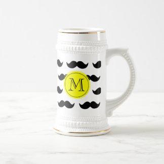 Black Mustache Pattern, Yellow Monogram 18 Oz Beer Stein