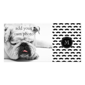 Black Mustache Pattern, Your Monogram Personalized Photo Card