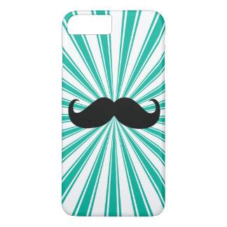 Black Mustache Turquoise Sun Rays Background iPhone 7 Plus Case