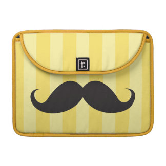 Black mustache yellow stripes MacBook Pro sleeve