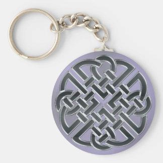 Black 'n Dusky Lavender Metal Celtic Knot Keychain