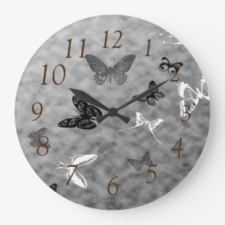 Black n White Butterflies Large Clock