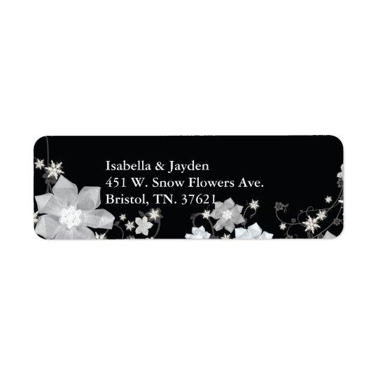 Black n White Floral Winter Wedding Address Return Address Label