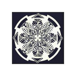 Black N White Tribal Design Canvas Print