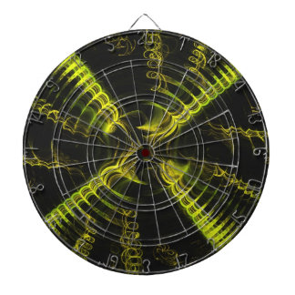 Black n Yellow Abstract Spiral Fractal Dart Board