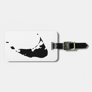 Black Nantucket Island Map Luggage Tag