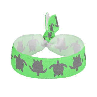 Black Nature Reptile Turtle Pattern on Lime Green Hair Tie