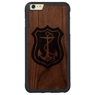 Black Nautical Anchor Monogramed Carved Walnut iPhone 6 Plus Bumper Case