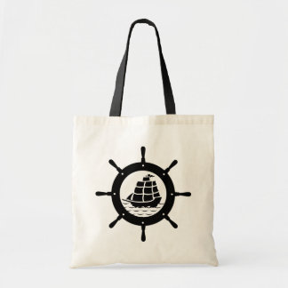 Black Nautical Boat Wheel Tote Bag