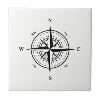 Black Nautical Star on White Ceramic Tile