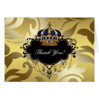 Black Navy Blue and Gold Crown Thank You Note Card