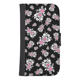 Black nerd cow pattern phone wallet