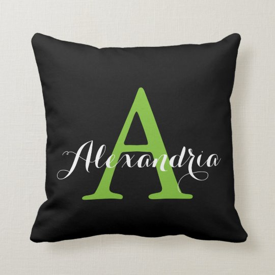 Black Neutral Solid Colour Bright Green Monogram Throw Pillow