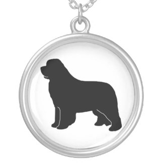 Black Newfoundland silhouette Silver Plated Necklace
