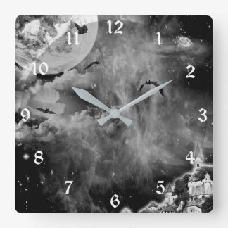 Black Night Bat Castle Fantasy Art Wall Clock