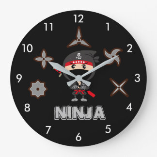 Black Ninja Boy Large Clock