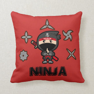 Black Ninja Boy Throw Pillow