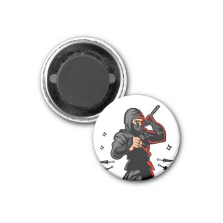 black ninja cartoon. 1 inch round magnet