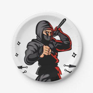 black ninja cartoon. 7 inch paper plate